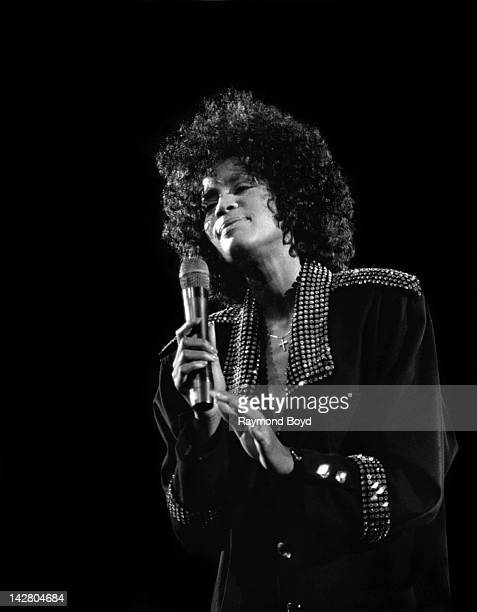 Singer Whitney Houston performs at the Assembly Hall at the University Of Illinois at UrbanaChampaign in Champaign Illinois in NOVEMBER 1987