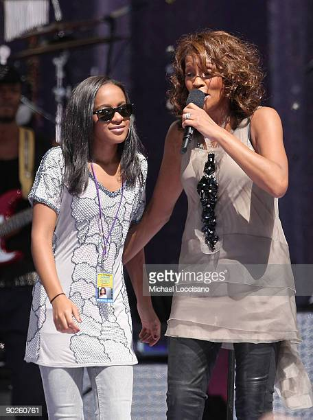 Singer Whitney Houston performs with her daughter Bobbi Kristina Brown during ABC's 'Good Morning America' on September 1 2009 in New York City