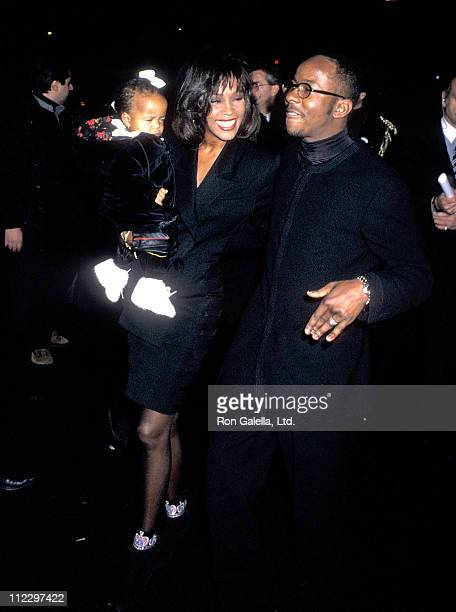 Singer Whitney Houston singer Bobby Brown and daughter Bobbi Kristina Brown attend Bobby Brown's 25th Birthday Party on February 4 1994 at Tavern on...