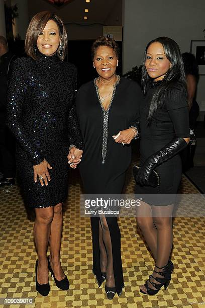 Singer Whitney Houston, Singer Dionne Warwick and Bobbi Kristina Brown arrives at the 2011 Pre-GRAMMY Gala and Salute To Industry Icons Honoring...