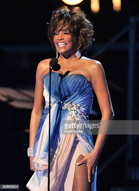 Singer Whitney Houston speaks during the 51st Annual Grammy Awards held at the Staples Center on February 8 2009 in Los Angeles California