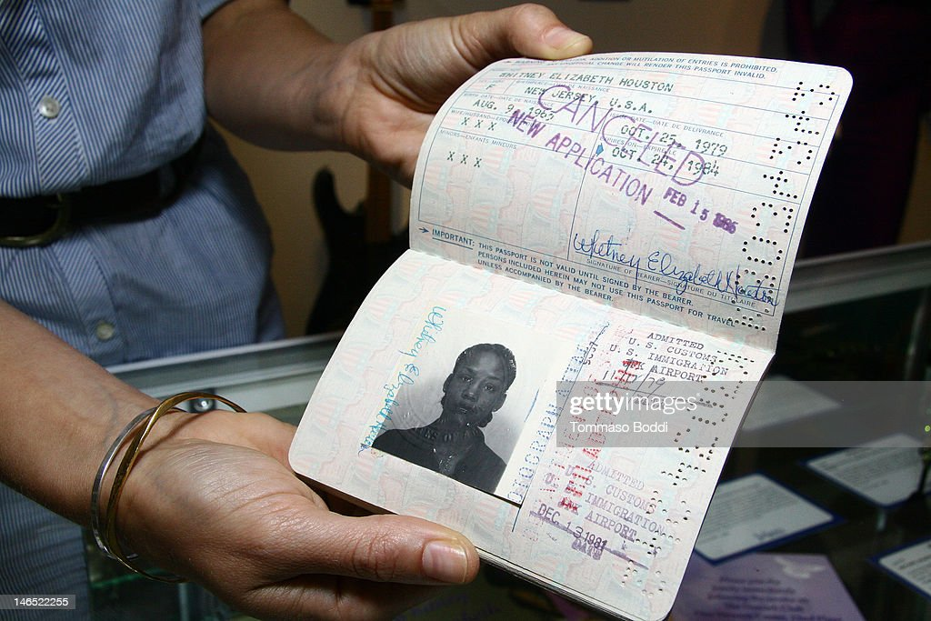Singer Whitney Houston's passport is displayed at the Julien's Auctions press call for Music Icons And Sports Legends Memorabilia Auction held at Julien's Auctions Gallery on June 18, 2012 in Beverly Hills, California.