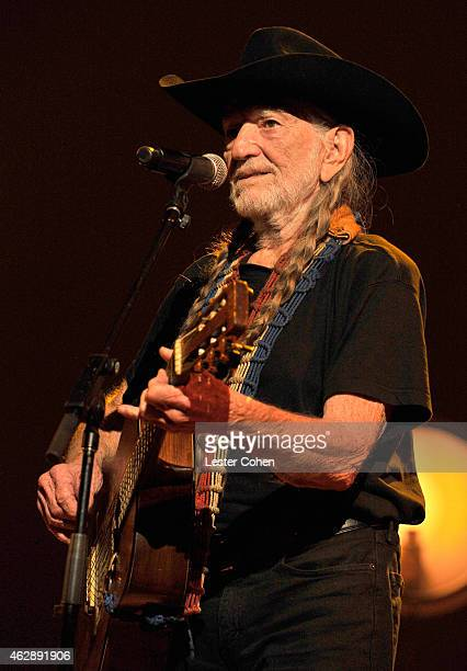 Singer Willie Nelson performs onstage at the 25th anniversary MusiCares 2015 Person Of The Year Gala honoring Bob Dylan at the Los Angeles Convention...