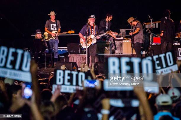 Singer Willie Nelson performs with his band at a campaign rally for Rep Beto O'Rourke at Auditorium Shores on September 29 2018 in Austin Texas...