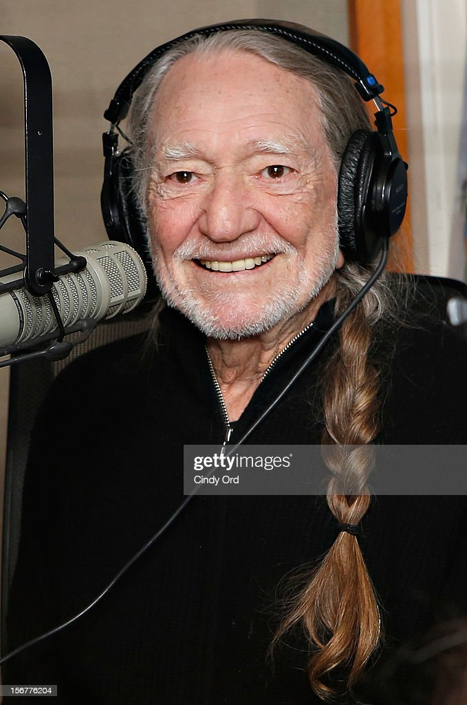 "Singer Willie Nelson stops by ""Freewheelin' with Meredith Ochs and Chris T."" on SiriusXM's Road Dog Trucking Radio at the SiriusXM Studios on November 20, 2012 in New York City."