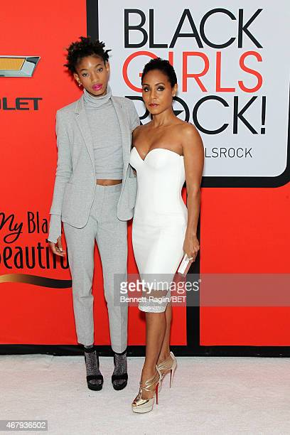 Singer Willow Smith and actress Jada Pinkett Smith attend the BET's Black Girls Rock Red Carpet sponsored by Chevrolet at NJPAC – Prudential Hall on...