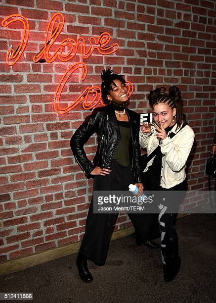 Singer Willow Smith and guest attend the I Love Coco Backstage Beauty Lounge at Chateau Marmont's Bar Marmont on February 25 2016 in Hollywood...
