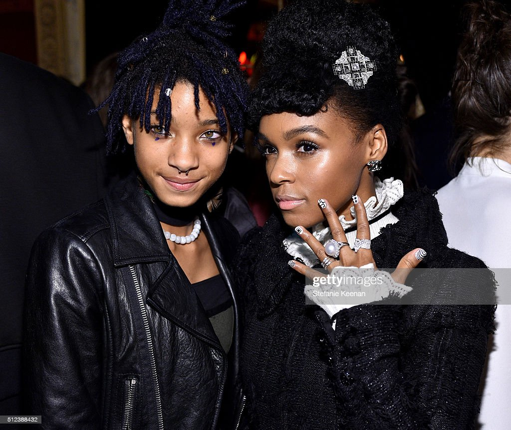 Singer Willow Smith and singer Janelle Monáe attend the I Love Coco Backstage Beauty Lounge at Chateau Marmont's Bar Marmont on February 25, 2016 in Hollywood, California.