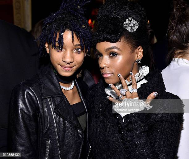 Singer Willow Smith and singer Janelle Monáe attend the I Love Coco Backstage Beauty Lounge at Chateau Marmont's Bar Marmont on February 25 2016 in...