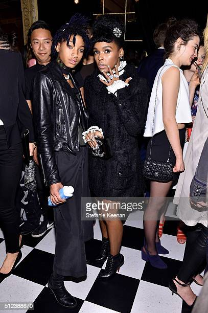 Singer Willow Smith and singer Janelle Monáe attend the I Love Coco Backstage Beauty Lounge at Chateau Marmont's Bar Marmont on February 25, 2016 in...
