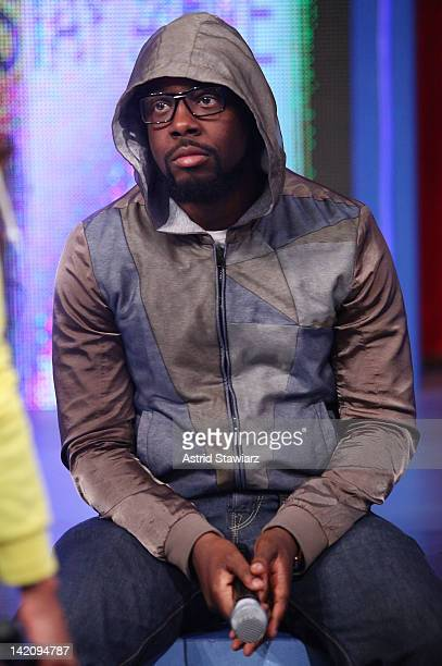 """Singer Wyclef Jean talks about Trayvon Martin during BET's """"106 & Park"""" Racial Profiling discussion at the BET Studios on March 29, 2012 in New York..."""