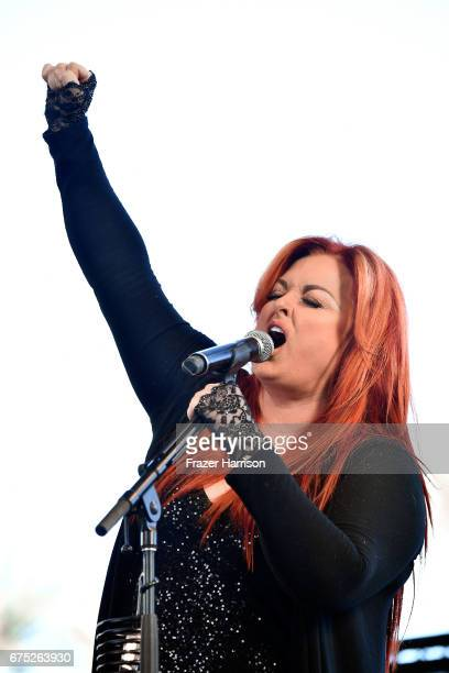 Singer Wynonna Judd of Wynonna the Big Noise performs on the Palomino stage during day 3 of 2017 Stagecoach California's Country Music Festival at...
