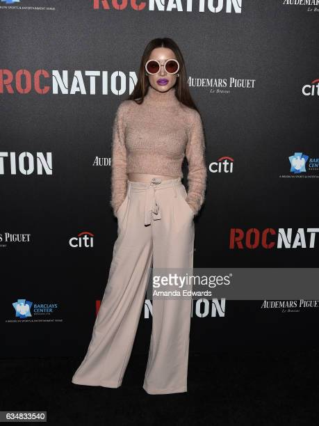 Singer Xhoana X arrives at Roc Nation's PreGRAMMY Brunch on February 11 2017 in Los Angeles California