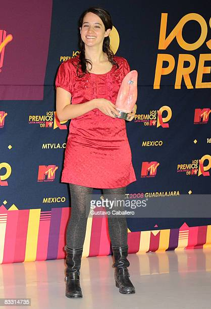 Singer Ximena Sarinana poses in the press room during the 7th Annual 'Los Premios MTV Latin America 2008' Awards held at the Auditorio Telmex on...