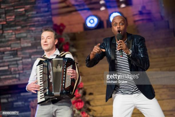 Singer Yared Dibaba performs during the New Year's Eve tv show hosted by Joerg Pilawa on December 30, 2017 in Graz, Austria.