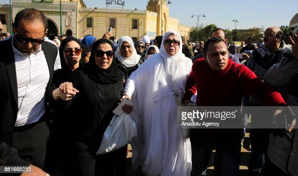Singer Yasmin El Khayam attends the funeral ceremony of Egyptian actress and singer Shadia at the Sayyida Nafisa mosque in Cairo Egypt on November 29...