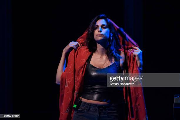 Singer Yasmine Hamdan performs live on stage during a concert as support for David Byrne at Tempodrom on June 27 2018 in Berlin Germany