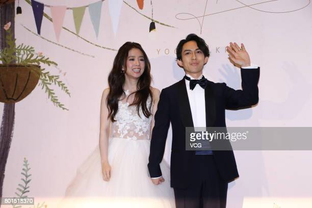 Singer Yoga Lin and wife singer Kiki Ting hold wedding ceremony on June 26 2017 in Taipei Taiwan of China