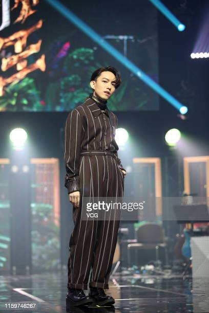 Singer Yoga Lin attends a press conference for television show 'Jungle Voice' on July 2 2019 in Taipei Taiwan of China