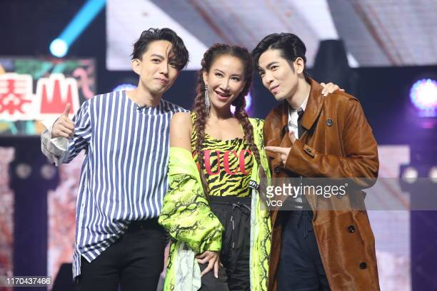 Singer Yoga Lin singersongwriter Coco Lee and singer/actor Jam Hsiao attend taping of talent show 'Jungle Voice 2' on August 26 2019 in Taipei Taiwan...
