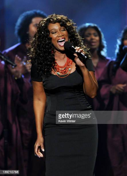 Singer Yolanda Adams performs a tribute to Whitney Houston onstage at the 43rd NAACP Image Awards held at The Shrine Auditorium on February 17 2012...