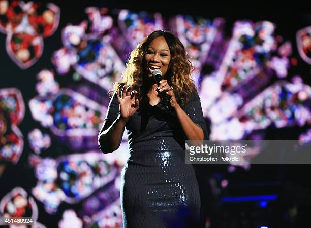 Singer Yolanda Adams performs onstage during the BET AWARDS '14 at Nokia Theatre LA LIVE on June 29 2014 in Los Angeles California