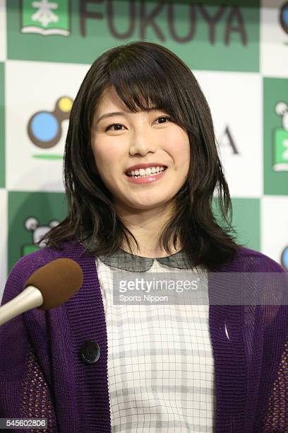 Singer Yui Yokoyama of AKB48 holds an event to promote her new book on February 6 2015 in Tokyo Japan