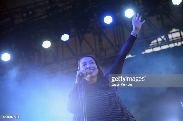 Singer Yukimi Nagano of Little Dragon performs onstage during day 3 of the 2014 Coachella Valley Music Arts Festival at the Empire Polo Club on April...