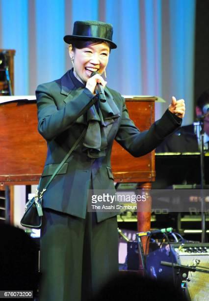 Singer Yumi Matsutoya performs at the farewell meeting for late musician Hiroshi Kamayatsu on May 2, 2017 in Tokyo, Japan.