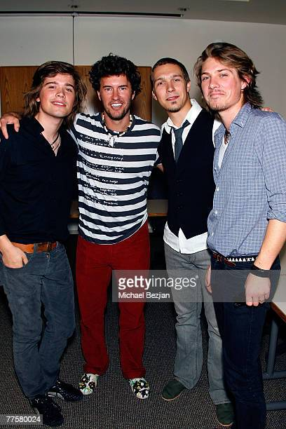 695230cedd1 Singer Zac Hanson Blake Mycoskie founder of TOMS Shoes singer Isaac Hanson  and singer Taylor Hanson