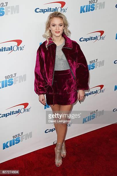 Singer Zara Larsson arrives at 1027 KIIS FM's Jingle Ball 2016 at the Staples Center on December 2 2016 in Los Angeles California
