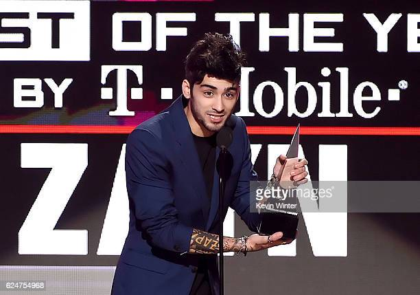 Singer Zayn Malik accepts New Artist of the Year onstage during the 2016 American Music Awards at Microsoft Theater on November 20 2016 in Los...