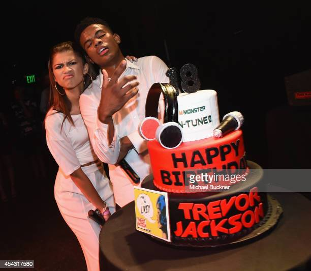 Singer Zendaya and singer Trevor Jackson attend Trevor Jackson's Monster 18th Birthday Party Presented by Monster at El Rey Theatre on August 28 2014...