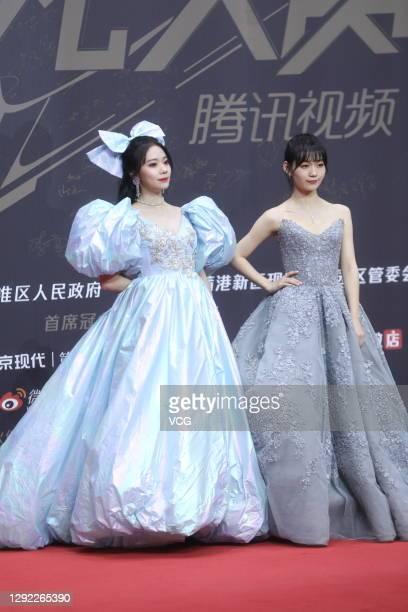 Singer Zhang Zining and singer Duan Aojuan attend 2020 Tencent Video Star Awards on December 20, 2020 in Nanjing, Jiangsu Province of China.