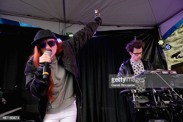 Singer Zoe Silverman and Adam Pallin of ASTR perform at the AXE White Label Collective Party powered by SPIN at SXSW on March 21 2015 in Austin Texas