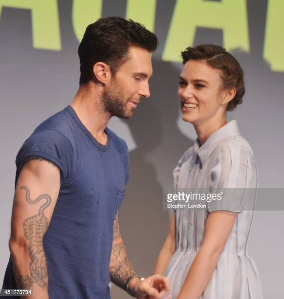 Singer/actor Adam Levine and actress Keira Knightley attend the 'Begin Again' press conference at Crosby Street Hotel on June 26 2014 in New York City