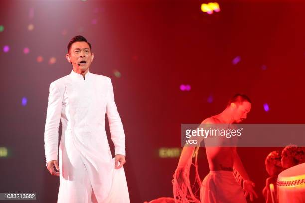 Singer/actor Andy Lau TakWah performs onstage during the 'My Love Andy Lau World Tour Hong Kong 2018' at Hong Kong Coliseum on December 15 2018 in...