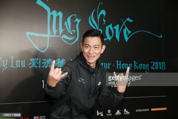 Singer/actor Andy Lau TakWah poses backstage after the 'My Love Andy Lau World Tour Hong Kong 2018' at Hong Kong Coliseum on December 15 2018 in Hong...