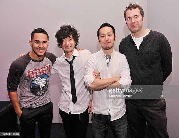 Singer/actor Carlos Pena Jr Sega producer Kaoru Tsuchiya Sega Networks VP Minoru Iwaki and Sega VP of Digital Business Chris Olson attend the Meet...
