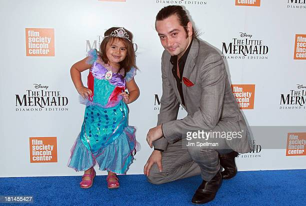 Singer/actor Constantine Maroulis and daughter Malena attend 'The Little Mermaid' screening at Walter Reade Theater on September 21 2013 in New York...
