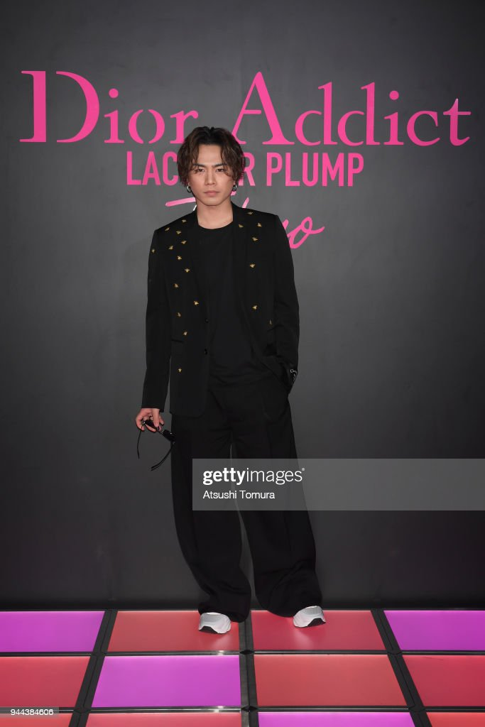 Singer/Actor Hiroomi Tosaka attends the Dior Addict Lacquer Plump Party at 1 OAK on April 10, 2018 in Tokyo, Japan.