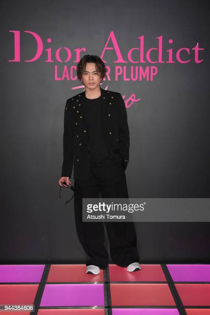 Singer/Actor Hiroomi Tosaka attends the Dior Addict Lacquer Plump Party at 1 OAK on April 10 2018 in Tokyo Japan