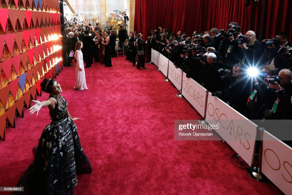 Singer/actor Janelle Monae (L) and actor Isabelle Huppert attend the 89th Annual Academy Awards at Hollywood & Highland Center on February 26, 2017 in Hollywood, California.