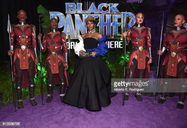 Singer/actor Janelle Monae at the Los Angeles World Premiere of Marvel Studios' BLACK PANTHER at Dolby Theatre on January 29 2018 in Hollywood...