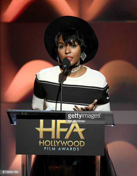 Singer/actor Janelle Monae speaks onstage during the 21st Annual Hollywood Film Awards at The Beverly Hilton Hotel on November 5 2017 in Beverly...
