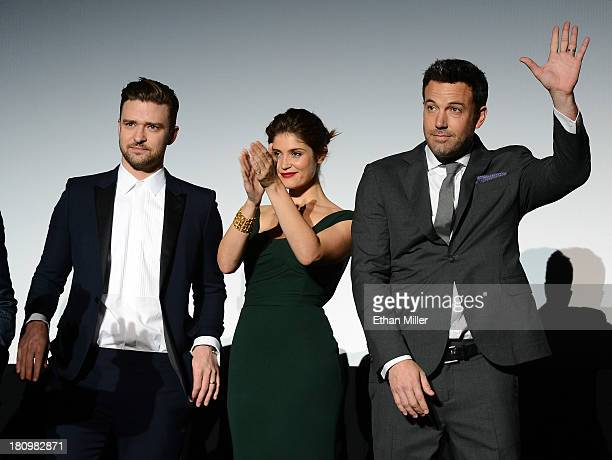 Singer/actor Justin Timberlake, actress Gemma Arterton and actor/director Ben Affleck introduce the world premiere of Twentieth Century Fox and New...