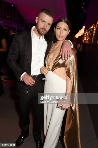 Singer/actor Justin Timberlake and actor Jessica Biel attend the 2017 Vanity Fair Oscar Party hosted by Graydon Carter at Wallis Annenberg Center for...