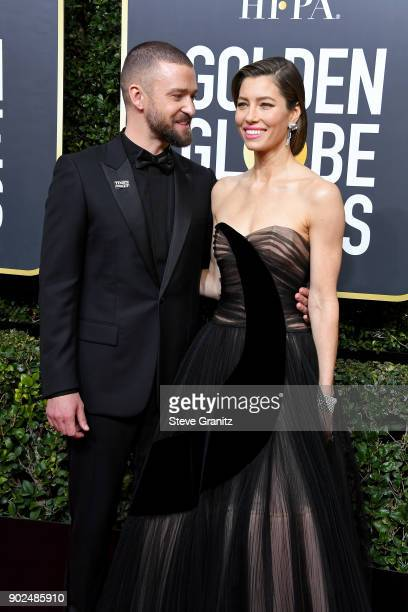 Singer/actor Justin Timberlake and actor Jessica Biel attend The 75th Annual Golden Globe Awards at The Beverly Hilton Hotel on January 7 2018 in...
