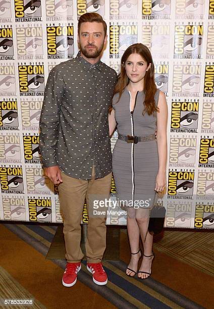 Singer/actor Justin Timberlake and actress Anna Kendrick attend the DreamWorks Animation press line during Comic-Con International 2016 at Hilton...