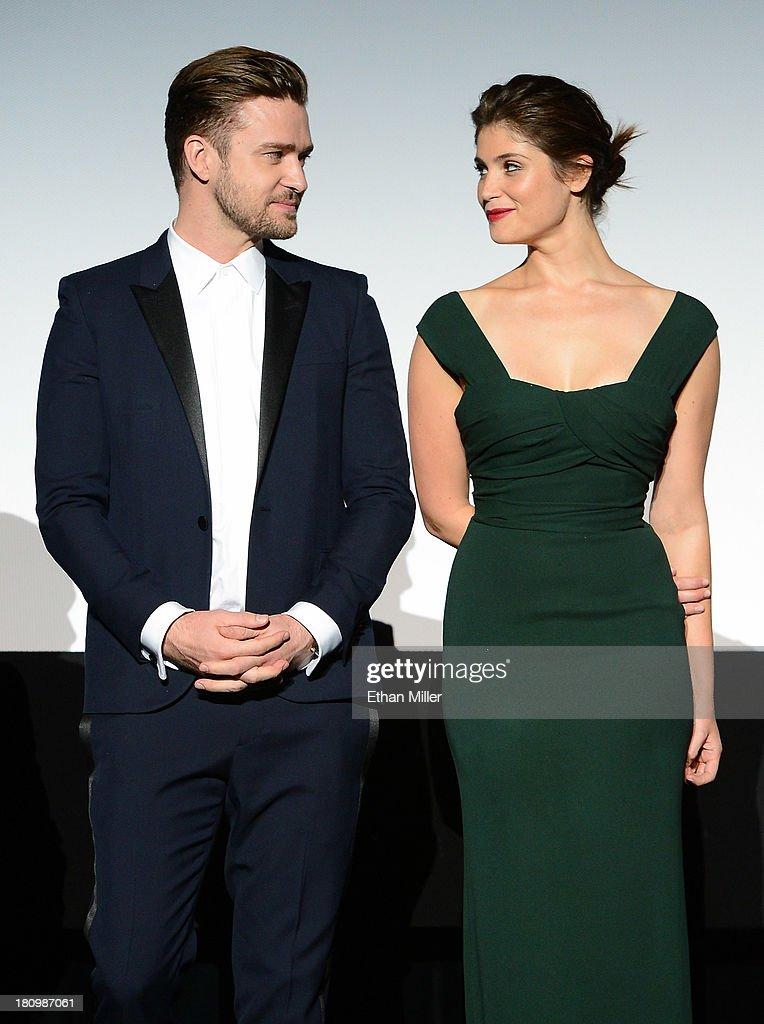 Singer/actor Justin Timberlake (L) and actress Gemma Arterton introduce the world premiere of Twentieth Century Fox and New Regency's film 'Runner Runner' at Planet Hollywood Resort & Casino on September 18, 2013 in Las Vegas, Nevada.